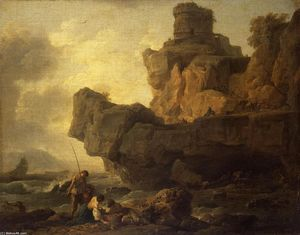 Claude Joseph Vernet - Rocks on a Seashore