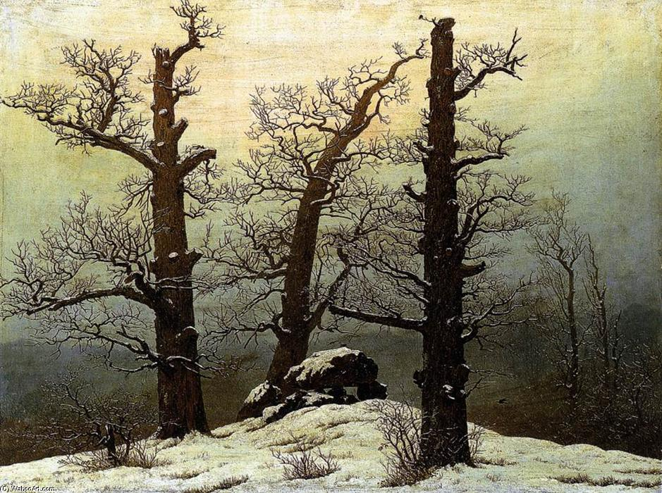 Order Paintings Reproductions | Dolmen in the Snow by Caspar David Friedrich | AllPaintingsStore.com