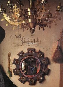 Jan Van Eyck - Portrait of Giovanni Arnolfini and his Wife (detail) (23)