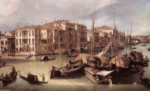 Giovanni Antonio Canal (Canaletto) - Grand Canal: Looking North-East toward the Rialto Bridge (detail)