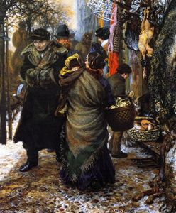 Adolph Menzel - Market in Winter