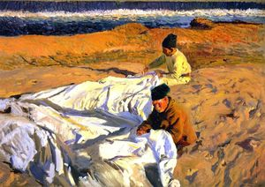 Joaquin Sorolla Y Bastida - Mending the Sail