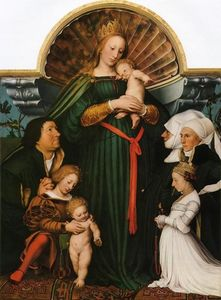 Hans Holbein The Younger - Meyer Madonna (also known as Darmstadt Madonna)