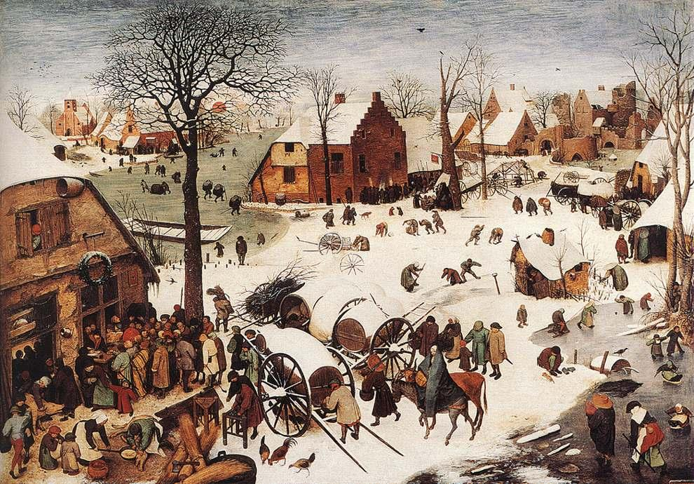 famous painting The Numbering at Bethlehem of Pieter Bruegel The Elder