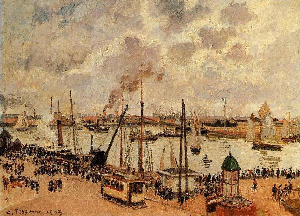 Order Art Reproductions : The Port of Le Havre by Camille Pissarro | AllPaintingsStore.com