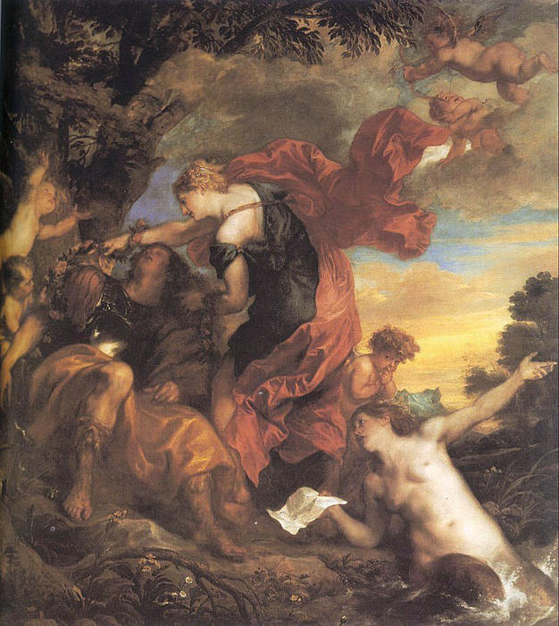 Buy Museum Art Reproductions | Rinaldo and Armida by Anthony Van Dyck | AllPaintingsStore.com