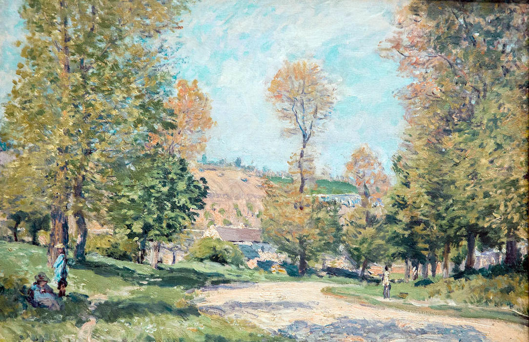 famous painting Road to Louveciennes of Alfred Sisley
