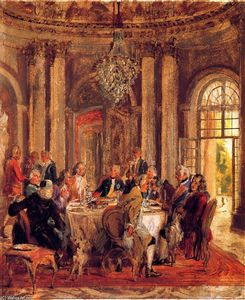 Adolph Menzel - The Round Table of Frederick II at Sanssouci (sketch)