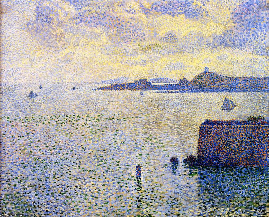 famous painting Sailboats and Estuary of Theo Van Rysselberghe
