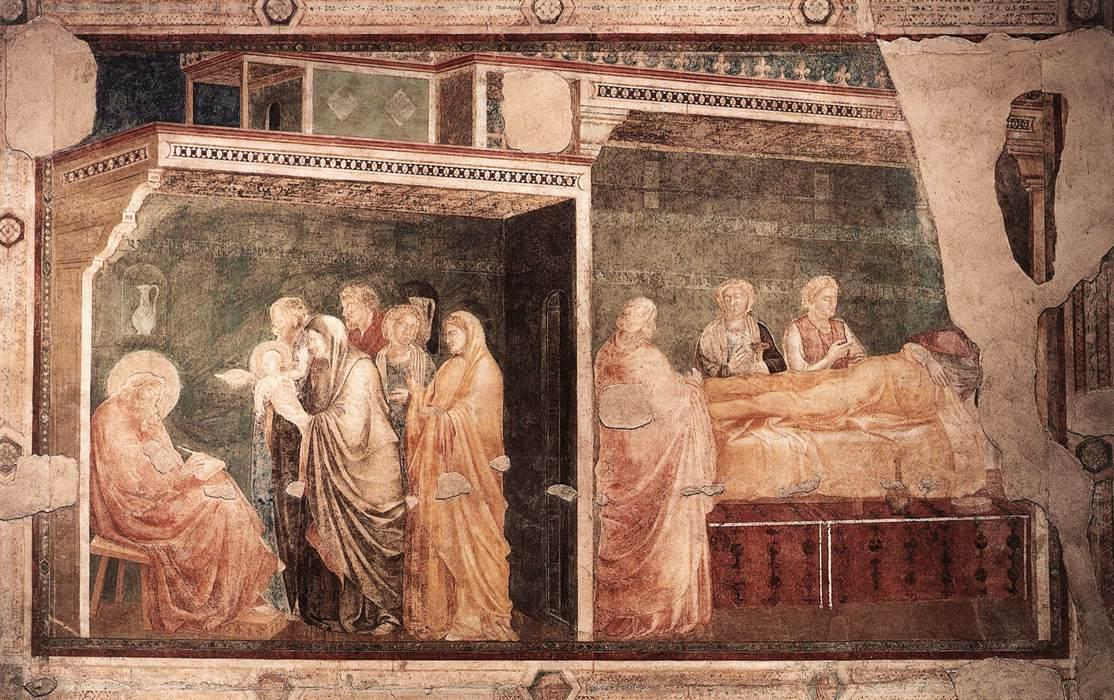 Order Paintings Reproductions | Scenes from the Life of St John the Baptist: 2. Birth and Naming of the Baptist (Peruzzi Chapel, Santa Croce, Florence) by Giotto Di Bondone | AllPaintingsStore.com