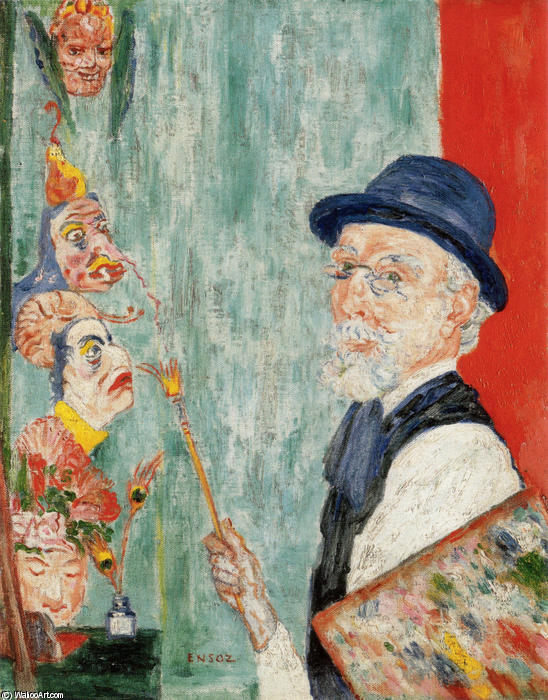 famous painting Self-Portrait with Masks of James Ensor