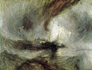 William Turner - Show Storm - Seam-Boat off a Harbour's Mouth Making Signals in Shallow Water, and Going by the Lead. The Author was in this Storm on the Night the Ariel Left Harwich