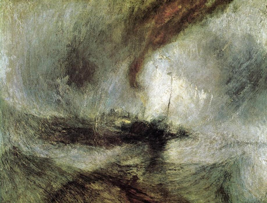 famous painting Show Storm - Seam-Boat off a Harbour's Mouth Making Signals in Shallow Water, and Going by the Lead. The Author was in this Storm on the Night the Ariel Left Harwich of William Turner