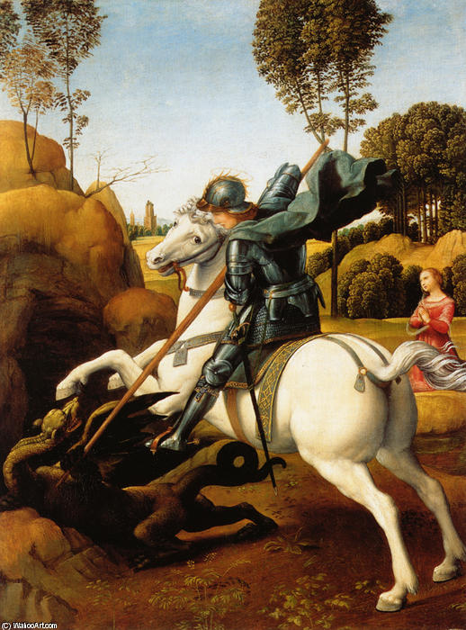 Order Art Reproductions | St. George and the Dragon by Raphael (Raffaello Sanzio Da Urbino) | AllPaintingsStore.com