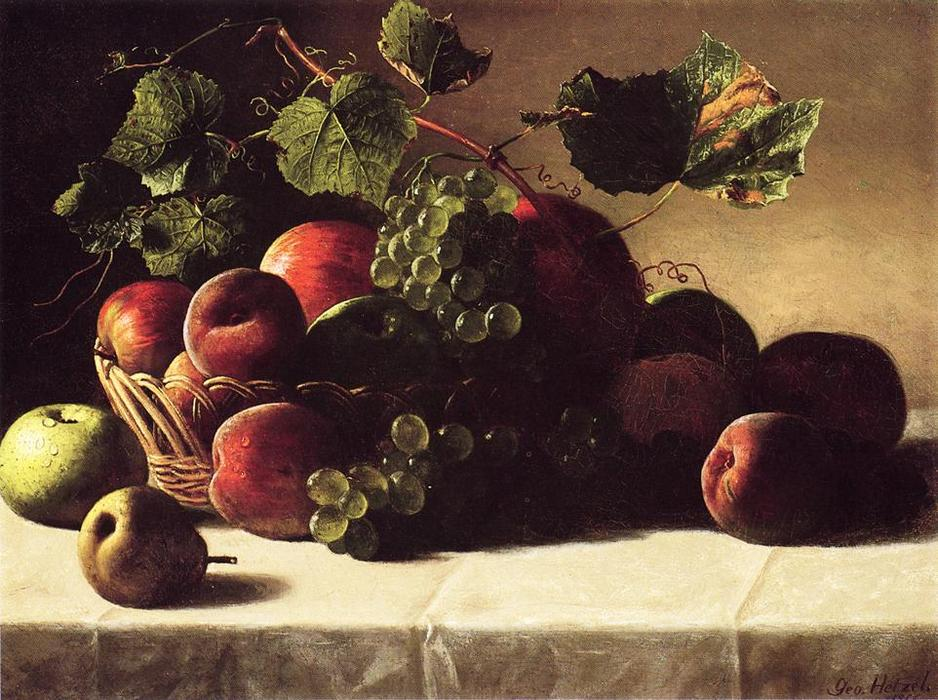 famous painting Still Life with Grapes and Peaches of George Hetzel