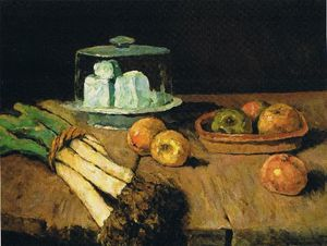 Carl Eduard Schuch - Still Life with leeks bunch, apples and cheese