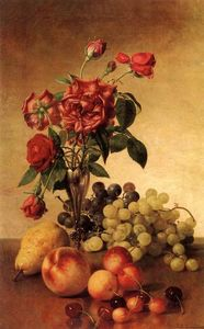 Robert Spear Dunning - Still Life with Roses and Fruit