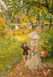 Jean Edouard Vuillard - Sunny Morning, Lucy Hessel and Denise Natanson in the Garden at Les Pavillons, Villerville