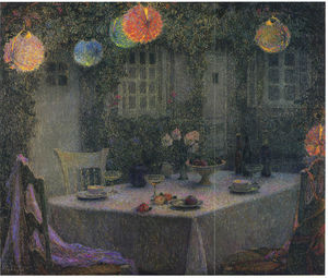 Henri Eugène Augustin Le Sidaner - Table with Lanterns in Gerberoy