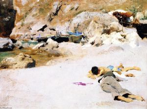 John Singer Sargent - Two Boys on a Beach with Boats