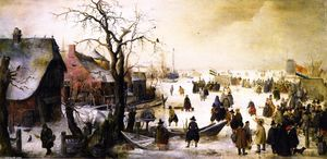 Hendrick Avercamp - Winter Landscape with a Frozen Watercourse