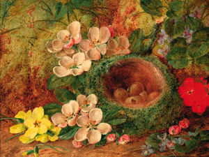 Vincent Clare - A Bird's Nest With Apple Blossom And Primulas On A Mossy Bank