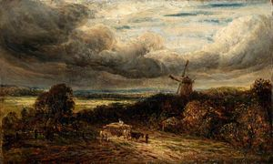 John Linnell - Landscape With A Wood And A Windmill Under Storm Clouds
