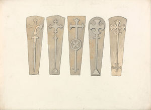 John Sell Cotman - Five Coffin Lids From - Norfolk Churches
