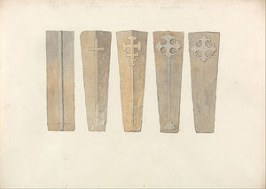 John Sell Cotman - Studies Of Five Coffin Lids -