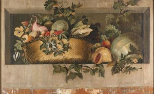 Jacob Van Campen - Still Life With A Basket Of Fruit In A Niche