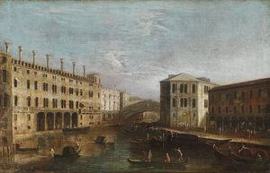 Apollonio Domenichini (Maestro Della Fondazione Langmatt) - Venetian Vista Overlooking The Grand Canal