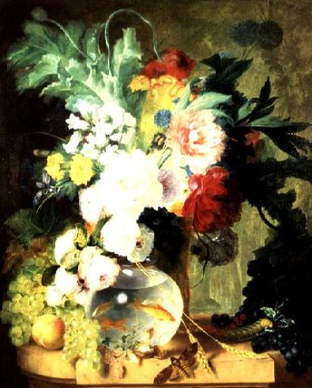 Order Art Reproductions | Still Life With Flowers And Fishbowl by Cornelis Kuypers | AllPaintingsStore.com