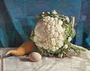 George Lambert - Egg And Cauliflower Still Life