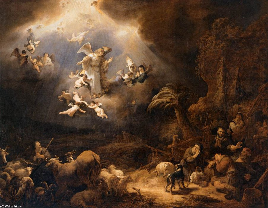 famous painting Angels Announcing The Birth Of Christ To The Shepherds of Govert Teunisz Flinck