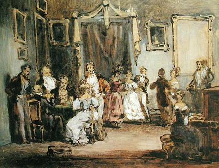 famous painting An Evening At The House Of Madame X of Henri Bonaventure Monnier