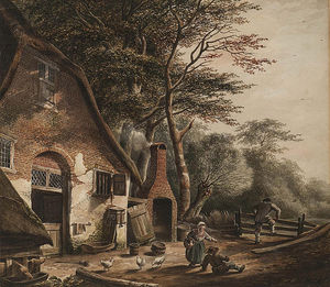 Andreas Schelfhout - Figures Outside A Farmhouse