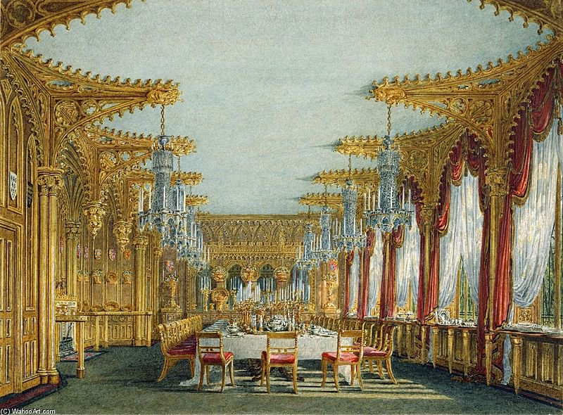 famous painting Carlton House, Gothic Dining Room of Charles Wild