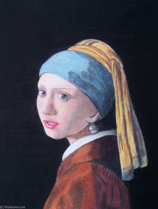 famous painting Girl With Pearl Earring Coloured Pencil of Rose Maynard Barton