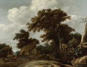 Cornelius Decker - Landscape With Farmyard And A Figure By A Well