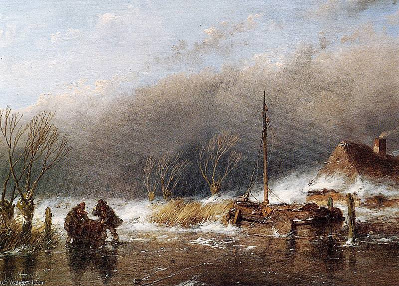 famous painting Storm on ice Sun of Andreas Schelfhout