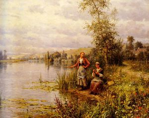 Daniel Ridgway Knight - louis aston country women after fishing on a summer afternoon