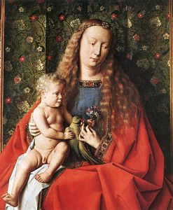 Jan Van Eyck - The Madonna with Canon van der Paele (detail - )