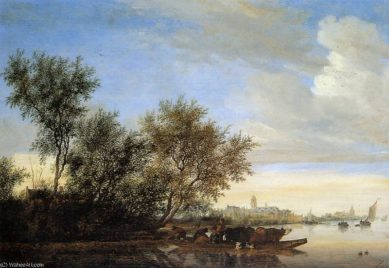 famous painting River landscape with ferry Sun of Jan Van Goyen