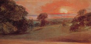 John Constable - Evening Landscape at East Bergholt
