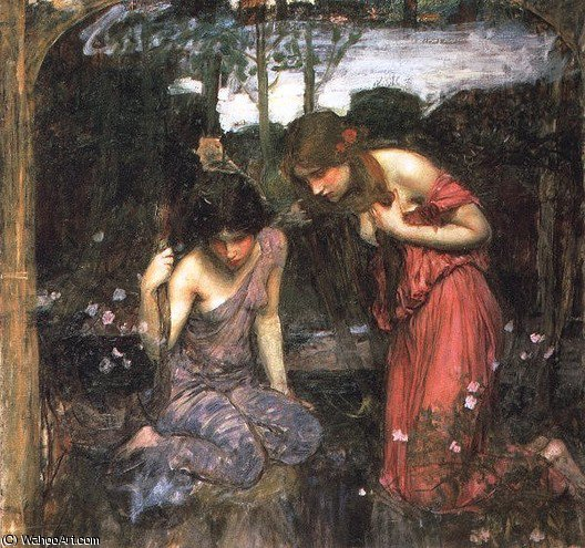 famous painting Nymphs finding the head of orpheus study of John William Waterhouse