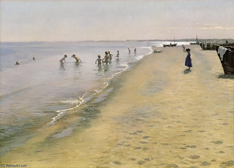 famous painting Summer Day at the South Beach of Skagen of Peder Severin Kroyer