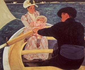 Mary Stevenson Cassatt - a ride in a rowing boat - oil on canvas -