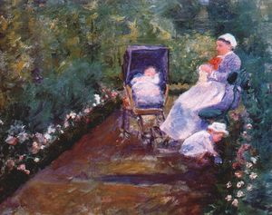 Mary Stevenson Cassatt - children in a garden (the nurse) -