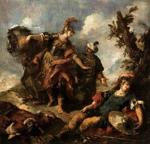 Gianantonio Guardi - Herminia and Vafrino Find the Wounded Tancred