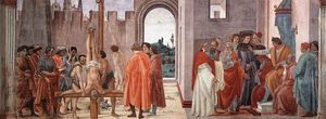Filippino Lippi - Cappella Brancacci-Disputation with Simon Magus and Crucifixion of Peter